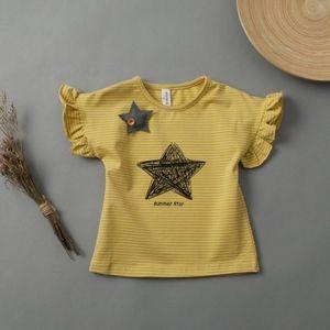 Toddler Girls Short Sleeve Star Yellow T Shirt